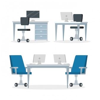Impostare scene di luoghi di lavoro con scrivanie e sedie