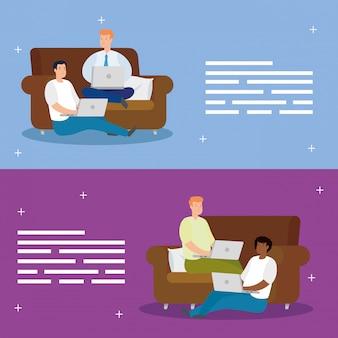 Impostare scene di uomini seduti sul divano e sul pavimento con i laptop
