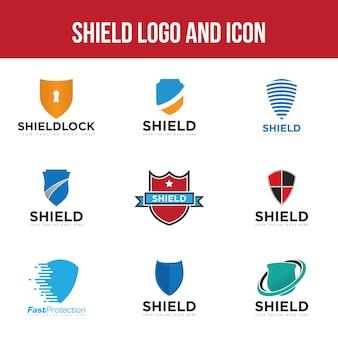 Impostare scudo logo e icona modello di disegno vettoriale