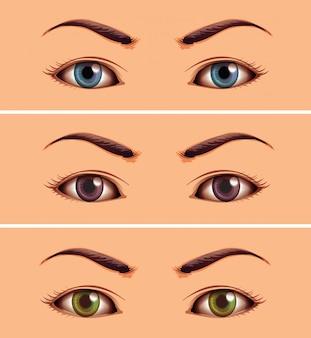 Impostare se l'area degli occhi da vicino umana
