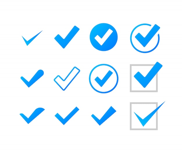 Impostare segni di spunta o segni di spunta. simbolo di spunta, segno di spunta grunge. illustrazione di riserva.