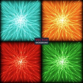 Impostare sfondo astratto di linee di curve colorate al neon luminose con abbagliamento.
