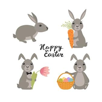 Impostare simpatici conigli di pasqua. sfondo di vacanza