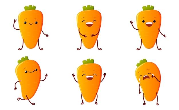 Impostare simpatici personaggi di carote. personaggi di verdure kawaii isolati