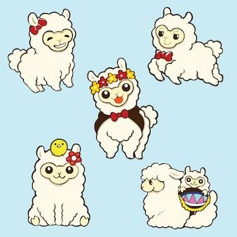 Impostare simpatico cartone animato alpaca, cartone animato animale.