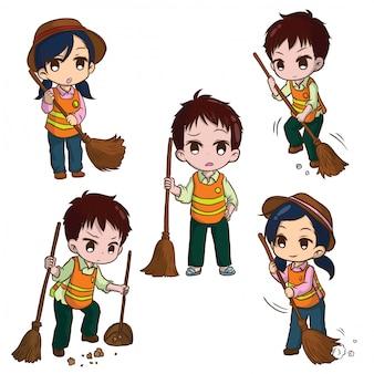 Impostare simpatico cartone animato street sweeper. concetto di lavoro.