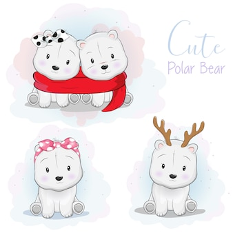 Impostare simpatico orso polare cartone animato con nastro, sciarpa e corno di cervo