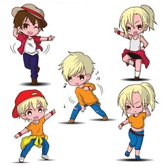 Impostare simpatico personaggio dei cartoni animati ballerino, concetto di lavoro.