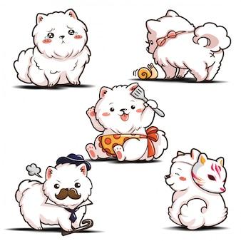 Impostare simpatico personaggio dei cartoni animati pomeranian dog