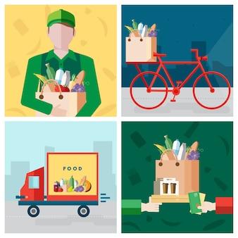 Impostare sul tema cibo consegna. corriere, bicicletta, pagamento per un acquisto. raccolta di illustrazioni colorate in stile piatto.