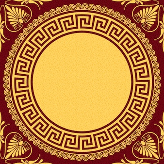 Impostare tradizionale vintage dorato rotondo ornamento greco (meandro) e motivi floreali su uno sfondo rosso