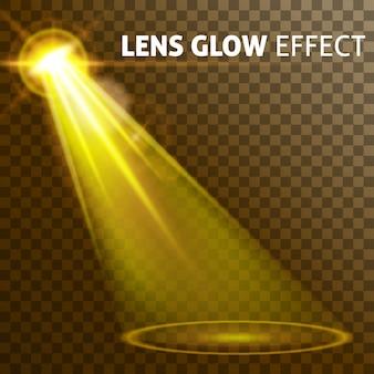Impostare una luce gialla realistica che brilla di un bagliore luminoso di lampade, un insieme di varie forme e proiezioni