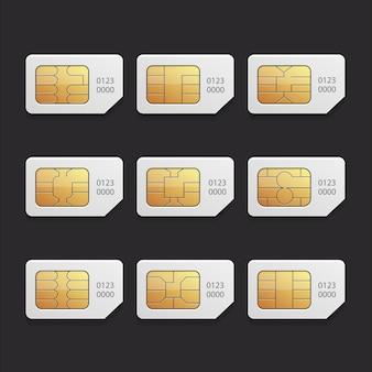 Impostare una raccolta di simcard chip di grafica vettoriale