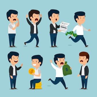 Impostare uomini d'affari con valuta fattura e monete
