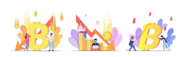 Impostare uomini d'affari frustrati per il crollo del crollo del prezzo dei bitcoin della criptovaluta che cade in fallimento della crisi finanziaria della freccia