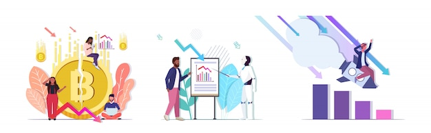 Impostare uomini d'affari frustrati per il crollo della crisi finanziaria dell'intelligenza artificiale di fallimento avvio criptovaluta