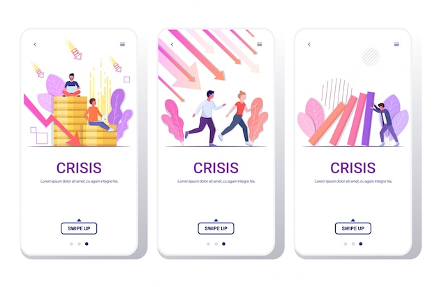 Impostare uomini d'affari frustrati per la freccia economica che cade crisi finanziaria fallimento fallimento concetto di rischio schermi telefonici collezione lunghezza integrale copia spazio orizzontale