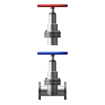 Impostare valvole a sfera, raccordi, tubi del sistema di tubazioni metalliche. diversi tipi di valvole acqua, olio, gasdotto, tubi di scarico