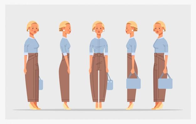 Impostare vista diversa imprenditrice lato frontale personaggio femminile per l'animazione orizzontale piena lunghezza