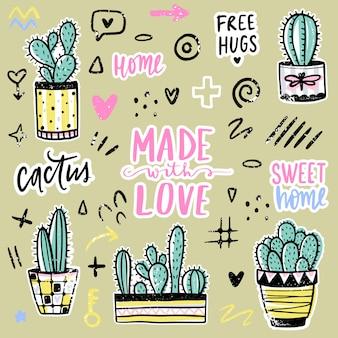 Impostato con cactus, frasi positive, elementi. cactus vettoriale carino.