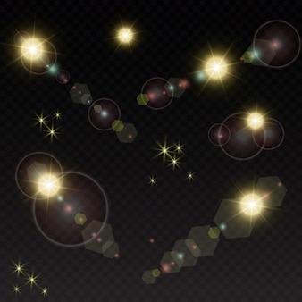 Impostato. stella splendente, particelle di sole e scintille con un effetto di evidenziazione, luci dorate bokeh scintillanti e paillettes.
