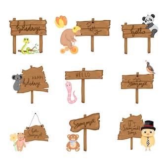 Imposti con gli animali svegli vicino all'insegna di legno con le iscrizioni sul tema dell'estate nel vettore. illustrazione di cartone animato