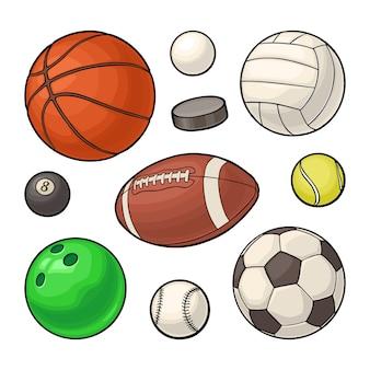 Imposti le icone delle sfere di sport. illustrazione di colore vettoriale. isolato su bianco