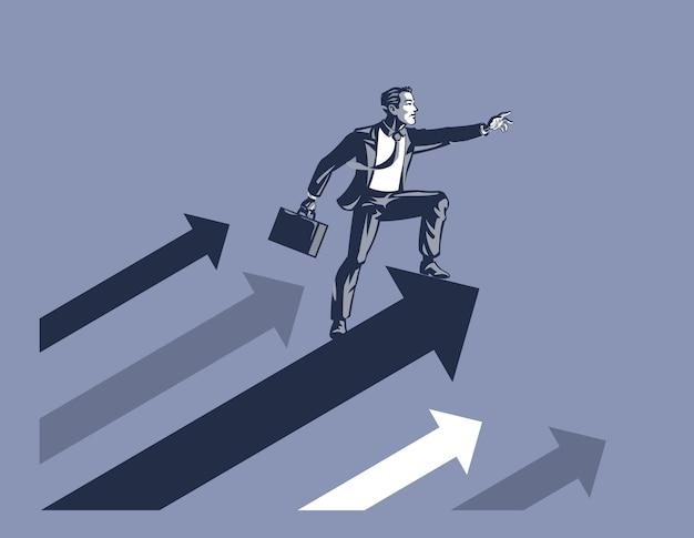 Imprenditore che trasportano valigetta in piedi sulla freccia in aumento pronto ad affrontare la sfida in avanti il concetto di illustrazione