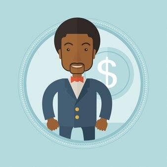 Imprenditore di successo con moneta da un dollaro