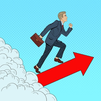 Imprenditore di successo di pop art che cammina verso l'alto attraverso le nuvole.