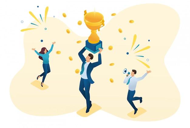 Imprenditore di successo isometrico che celebra una vittoria e trionfa nei vincitori della coppa.
