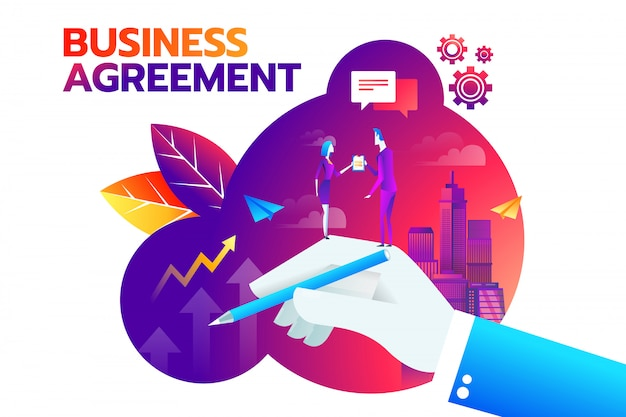 Imprenditore e imprenditrice agitando la mano e si impegnano a firmare il contratto.