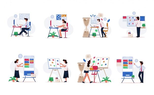 Imprenditore e imprenditrice manage task