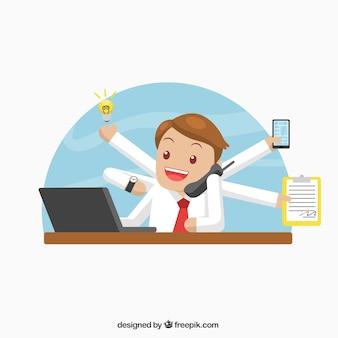 Imprenditore facendo vari compiti