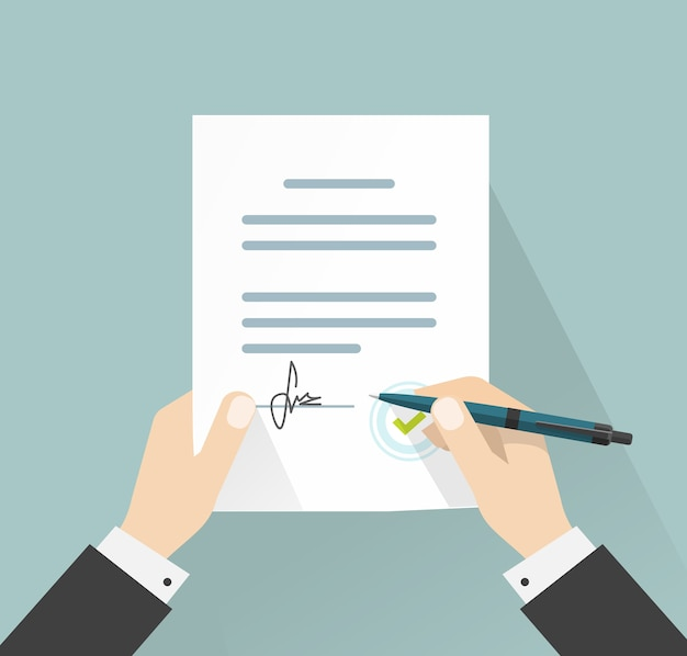 Imprenditore firma contratto documento di accordo con illustrazione della penna