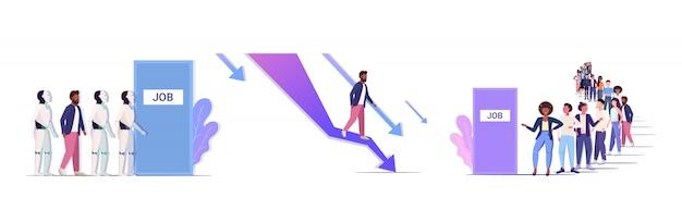 Imprenditori frustrati per il grafico verso il basso lavoro occupazione crisi finanziaria concetti di dominazione robotica raccolta orizzontale a figura intera