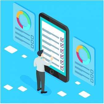 Imprenditori isometrici con liste di controllo e liste di compiti.