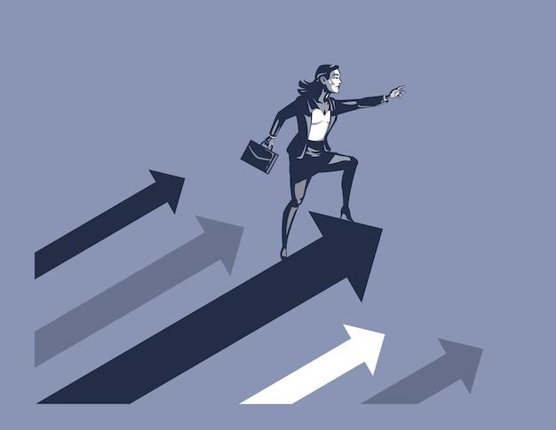 Imprenditrice che trasportano valigetta in piedi sulla freccia in aumento pronto ad affrontare la sfida in avanti il concetto di illustrazione