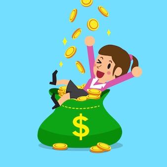 Imprenditrice con borsa grande denaro