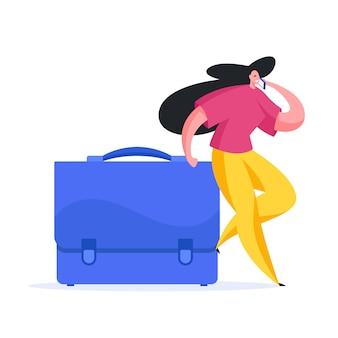 Imprenditrice con valigetta parlando su smartphone. illustrazione piatta