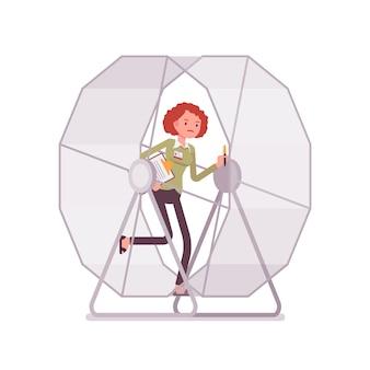 Imprenditrice in una rotellina del mouse