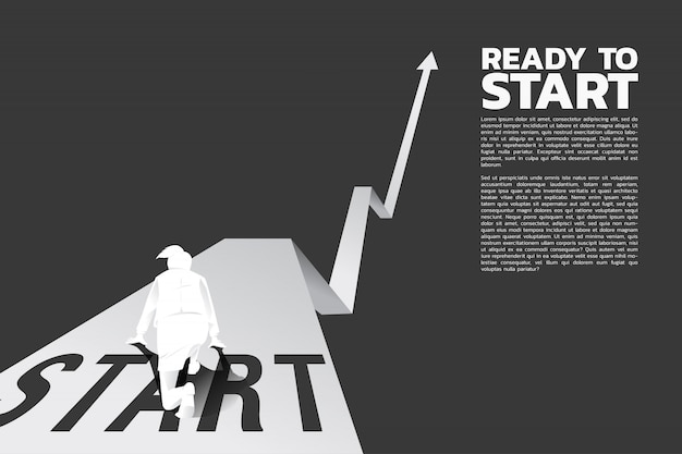 Imprenditrice pronta a correre dalla linea di partenza sul grafico in crescita