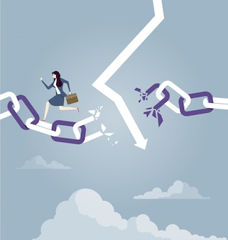 Imprenditrice sfuggire alla catena spezzata