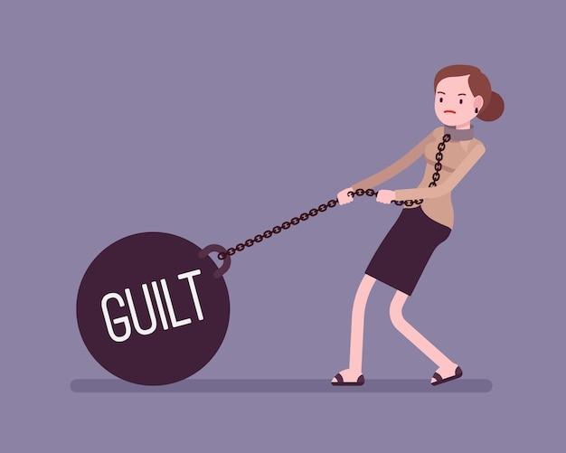 Imprenditrice trascinando un peso colpa sulla catena