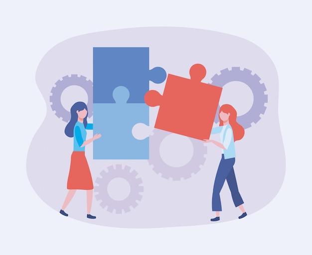 Imprenditrici con informazioni sulla tecnologia puzzle e ingranaggi