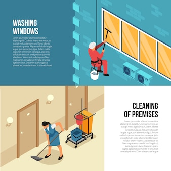 Imprese di pulizia industriali e commerciali che pubblicizzano le insegne orizzontali isometriche con l'illustrazione qualificata esteriore ed interna di vettore di servizio