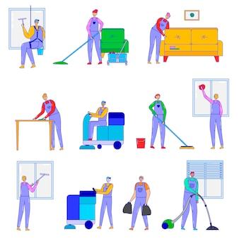 Imprese di servizio di pulizia, illustrazione isolato su bianco, linea arte, lavoro del personale della compagnia di pulizie con attrezzature speciali, aspirapolvere, mop.