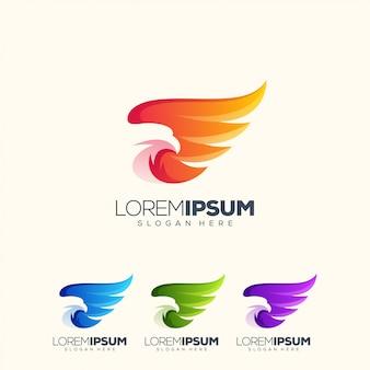 Impressionante aquila logo design illustrazione vettoriale