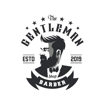Impressionante barbershop logo design vettoriale