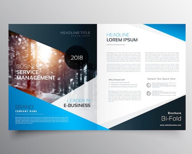 Impressionante copertina blu rivista o brochure bifold progettazione template